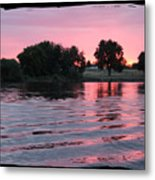 Pink Sunset With Soft Waves In Black Framing Metal Print
