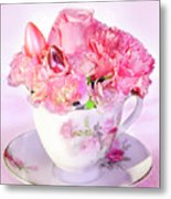 Pink Teacup Bouquet Metal Print