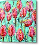 Pink Tulip, Turquoise Metal Print
