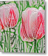 Pink Tulips With Block Effect Metal Print