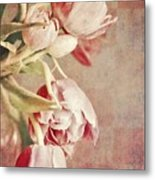 Pink Tulips On Checkers Metal Print