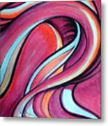 Pink Wave Of Energy. Abstract Vision Metal Print