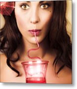 Pinup Poster Girl Drinking At Retro Cocktail Party Metal Print