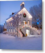 Pioneer Church At Christmas Time Metal Print