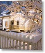 Pioneer Home At Christmas Time Metal Print by Utah Images