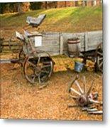 Pioneer Wagon And Broken Wheel Metal Print
