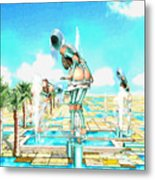 Pipe Human Figures Creating On Oasis Number One Metal Print