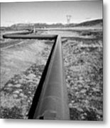 pipeline carrying hot water to reykjavik from Hellisheidi geothermal combined heat and power station Metal Print