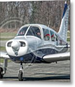 Piper Pa28 I-cnpg Taxiing To The Runway Metal Print