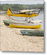 Piper Super Cub Floatplane Near Pond In Maine Canvas Poster Print Metal Print