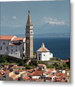 Piran Slovenia With St George's Cathedral Belfry And Baptistery  Metal Print