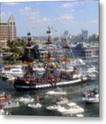 Pirate Ship And Flotilla Metal Print