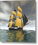 Pirate Ship On The High Seas Metal Print