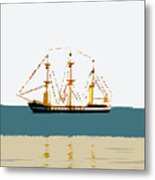 Pirate Ship On The Horizon Metal Print