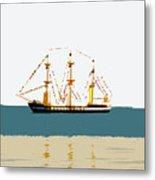 Pirate Ship On The Horizon Metal Print