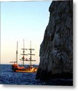 Pirate Ship Sunset Sea Of Cortez Cabo Metal Print