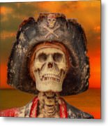 Pirate Skeleton Sunset Metal Print by Randy Steele