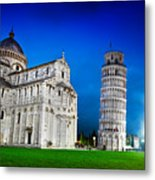 Pisa Cathedral With The Leaning Tower Of Pisa, Tuscany, Italy At Night Metal Print