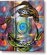 Pisces With Six Fence Lotus Metal Print