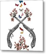 Pistols Wit Flowers And Butterflies Metal Print