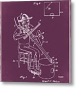 Pitch Fork Fiddle And Drum Patent 1936 - Red Metal Print