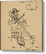 Pitch Fork Fiddle And Drum Patent 1936 - Sepia Metal Print