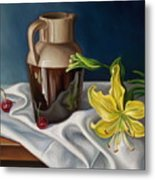 Pitcher And  Cherries Metal Print