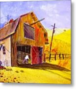 Pitching Hay Metal Print