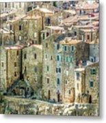 Pitigliano Houses Closeup Grosseto Tuscany Metal Print