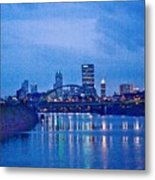 Pittsburgh In Blue Metal Print