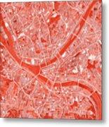 Pittsburgh Map Red Metal Print