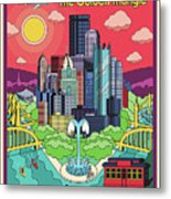 Pittsburgh Poster - Pop Art - Travel Metal Print