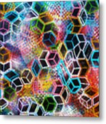 Pixelated Cubes Metal Print