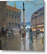 Place De L Opera In Paris Metal Print by Georges Stein