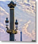 Place De La Concorde View Eiffeltower Metal Print