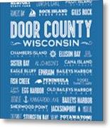 Places Of Door County On Blue Metal Print