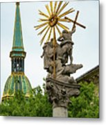 Plague Column And Saint Martin Cathedral Metal Print