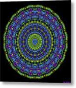 Plaid Wheel Mandala Metal Print