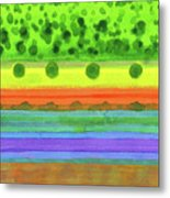 Plain With Red Field Metal Print