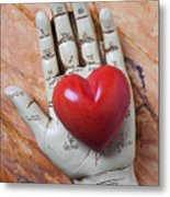 Plam Reader Hand Holding Red Stone Heart Metal Print by Garry Gay