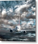 Plane In Storm Metal Print by Olivier Le Queinec
