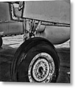 Plane - Landing Gear In Black And White Metal Print