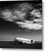 Plane Wreck Black And White Iceland Metal Print