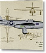 Planes Of Fame A-59 Airacomet - Profile Metal Print