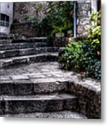Plants Grow In The Uneven Stairs Climbing Towards The Tower Metal Print