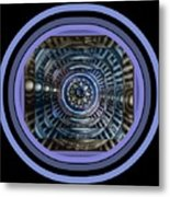 Plaster Art - Blue Circle Metal Print