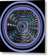 Plaster Art - Blue Circle Metal Print