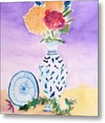 Plate And Flowers Metal Print