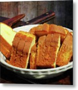 Plate With Sliced Bread And Knives Metal Print