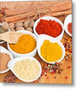 Plates Of Spices  Metal Print